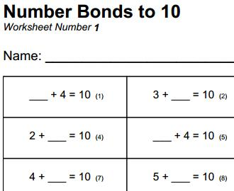 Free printable mathematics worksheet - Number Bonds to 10